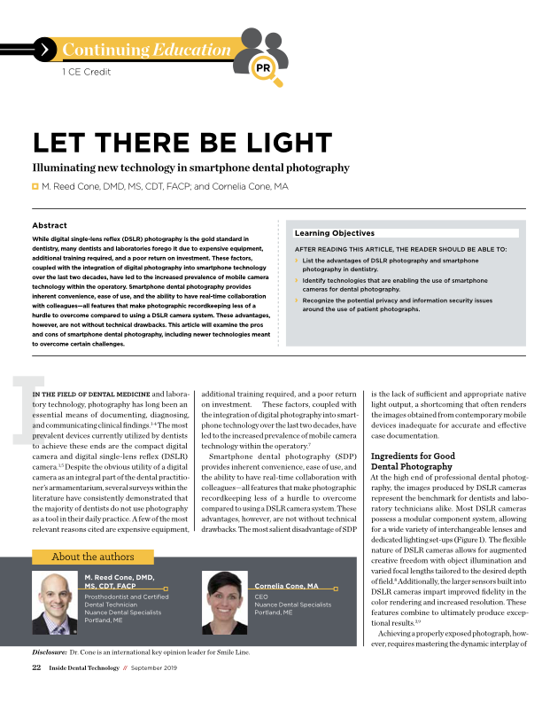 External Artificial Light Sources in Smartphone Dental Photography -