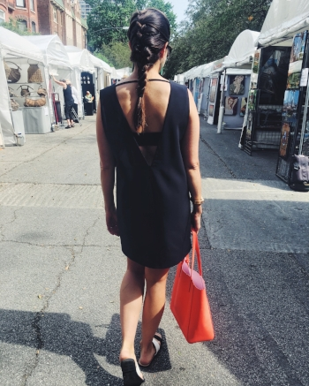 Walking around the art festival in my new  Tobi  dress and Kate Spade tote
