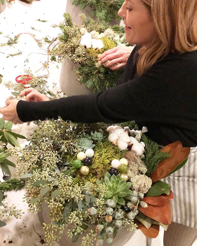 Annnnd just like that, our final workshop of the year has come to a close! Last night's private workshop was hosted by Dana and Val from @blueprintstudio_interiors and my only regret was that I was having too much fun to capture photos of everyone's gorgeous creation!! - We designed a long lasting winter arrangement of succulents, two varieties of live moss, fragrant juniper berries, weepy seeded eucalyptus, cotton stems, magnolia leaves, silver bells and of course petite ornaments from @shopterrain. Phew! That was a mouthful! ✨🌿 These extra large beauties are going to look so good long beyond the new year!! ✨💕 -🌵✨💕 If you are wanting to host your own- get in touch and we can plan something fun!