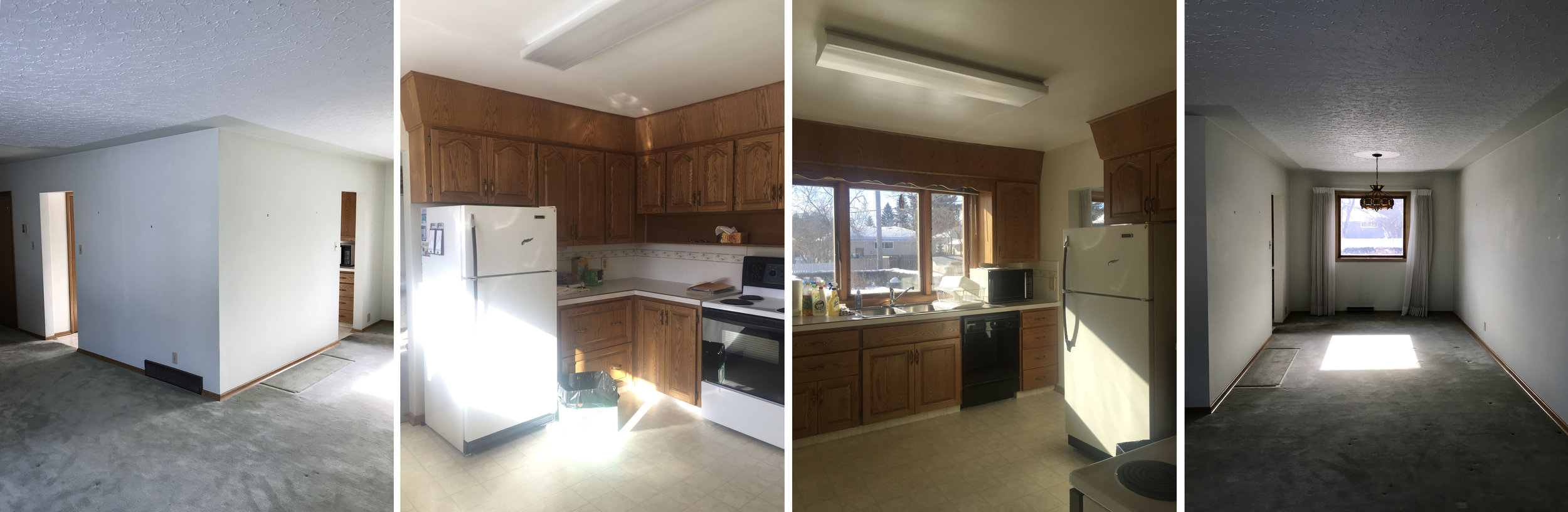 """BEFORE photos from left to right: the outside of the """"boxed-in