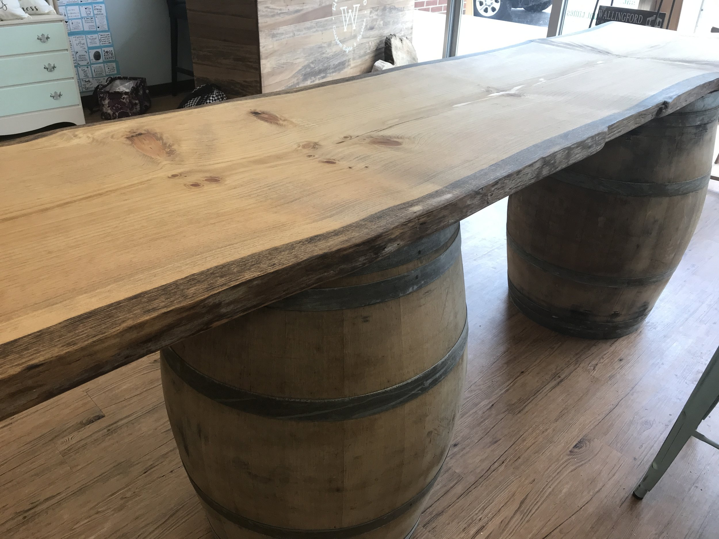 Contact us today to order your LIVE EDGE BARREL TABLE.