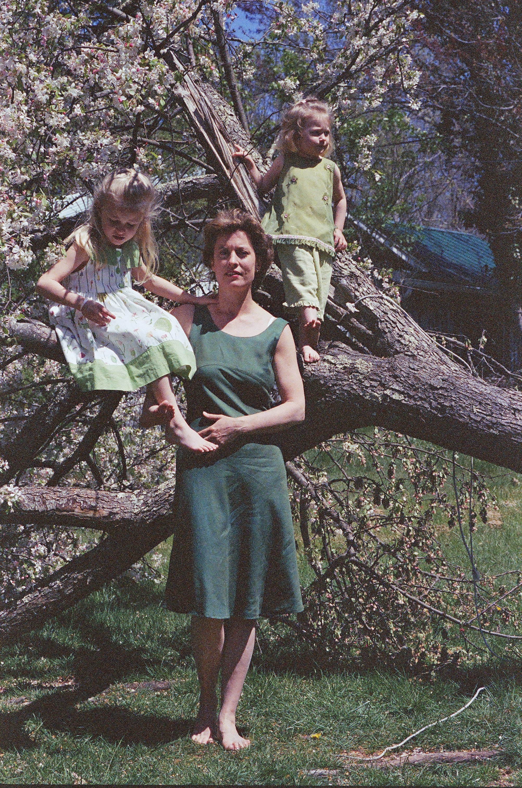 The girls and Mom around the Cherry Tree...