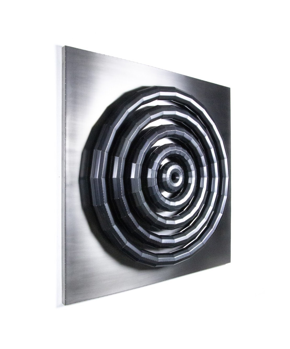 Radiate  blackened steel, stainless steel  48 x 48 x 5 in  2019