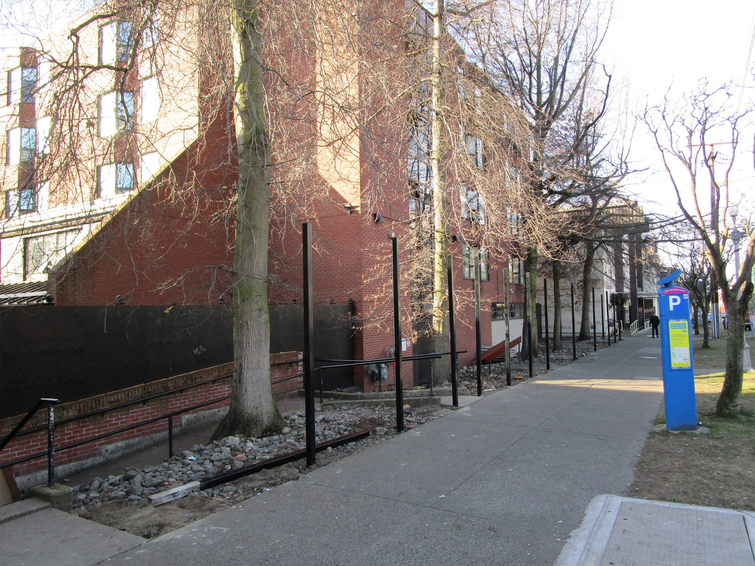 Portland Hotel Society wall under construction, Pandora Avenue.