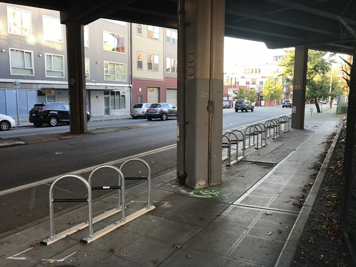Bike racks installed (and later removed) under a Seattle viaduct to keep people from sheltering. Image source:  Jeff Few; The Stranger
