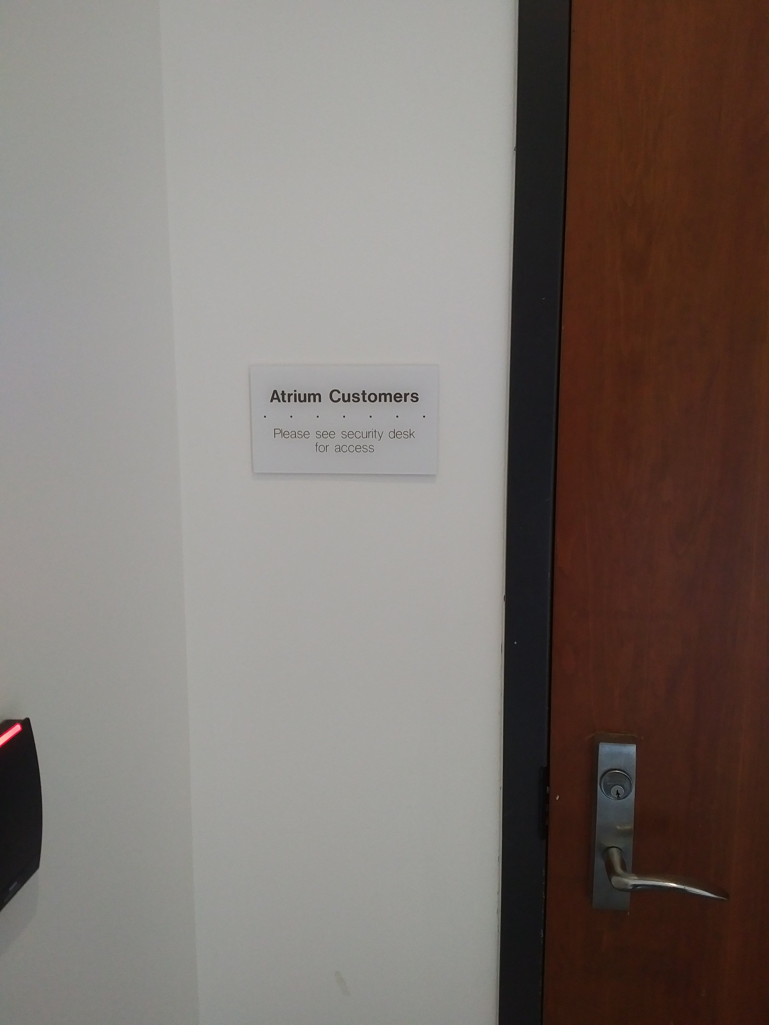The doors to access the washrooms in the Atrium building were locked in April 2018.