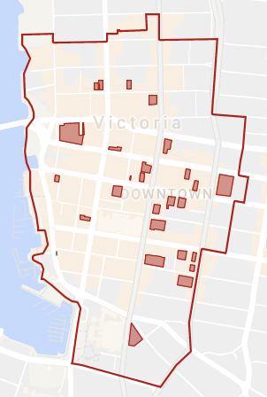 """Parcels in downtown Victoria with """"No Public Washroom"""" signs in September 2017. Parcels may contain more than one business, some of which may have had no signs posted."""