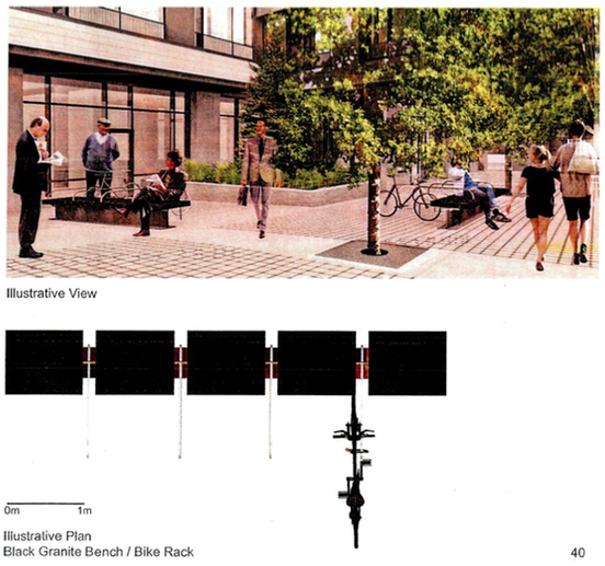 Gaps and bike racks on a then-proposed bench design. Image source: Submission to Victoria Council.