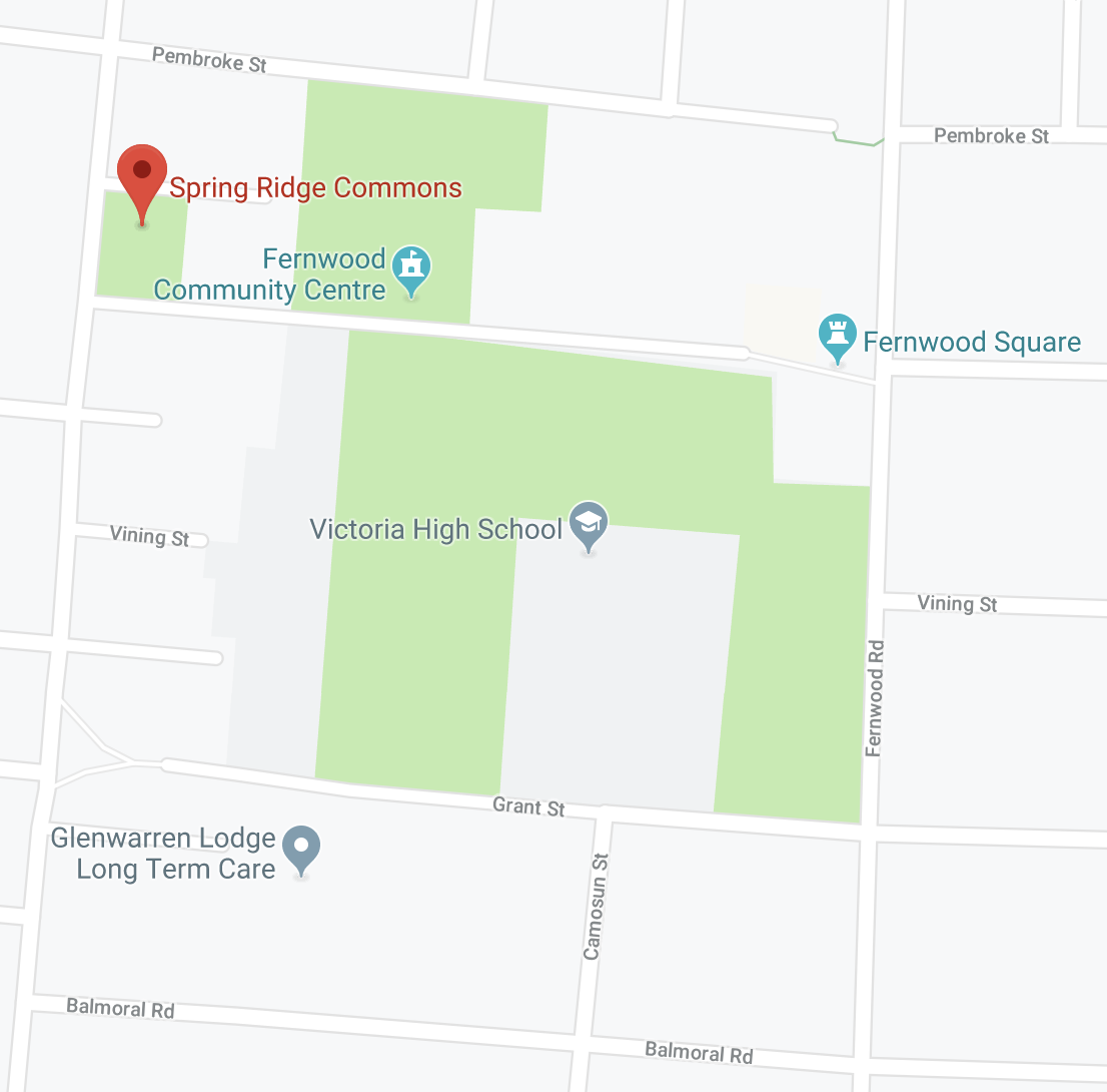 Location of Spring Ridge Commons and Vic High. Image source:  Google Maps .
