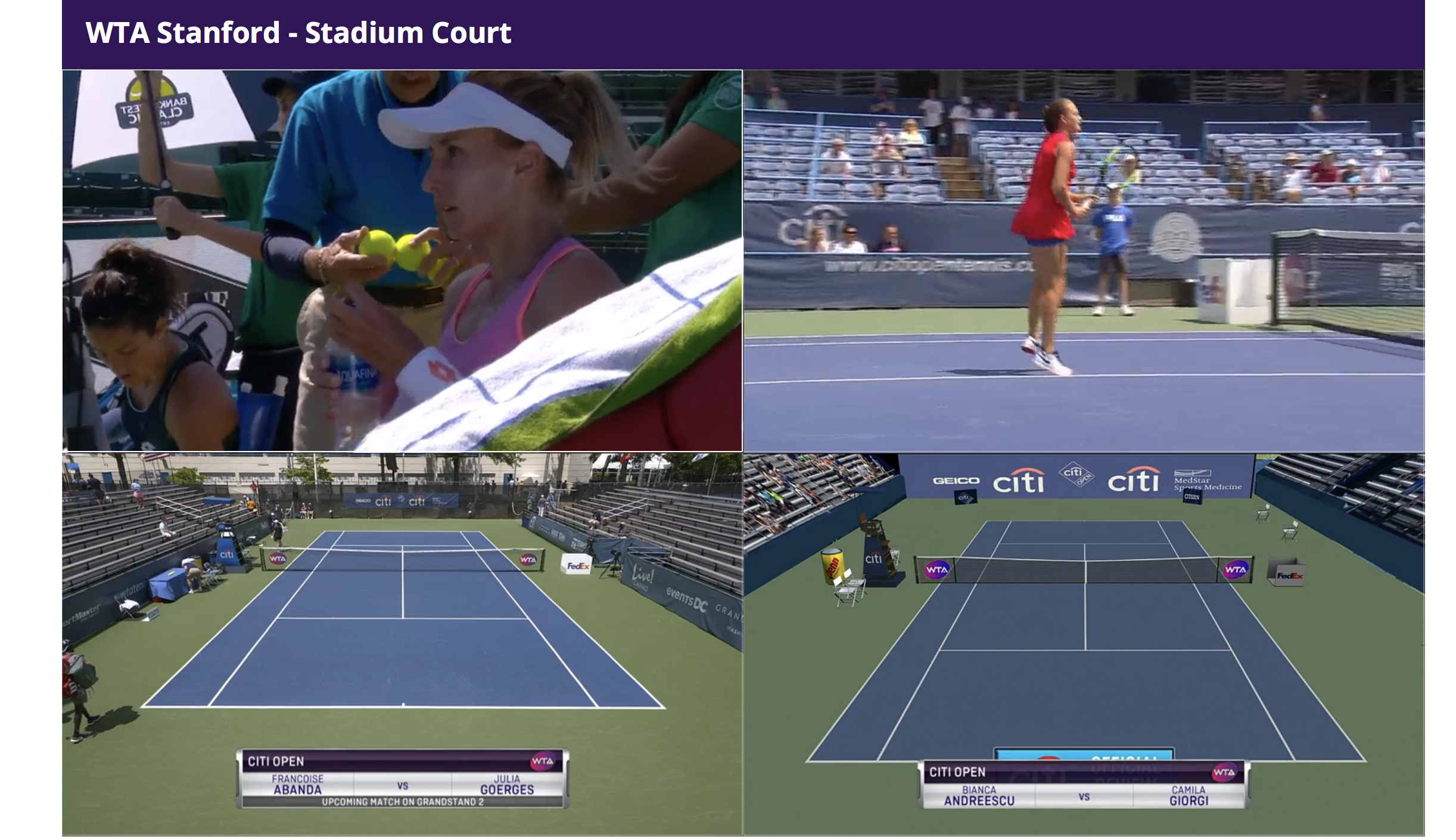 An example of the multi-stream experience from WTA TV