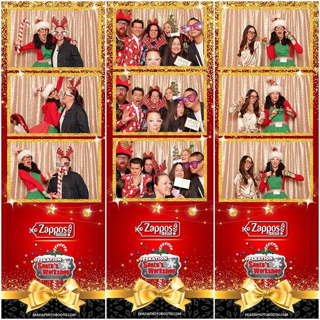 A bunch of #zapponians having some fun in the 📸 photo booth.📍Location: @opsantasworkshop▪️To view & download your photos please visit my Facebook page. Happy Holidays! #ekadaphotobooth #operationsantasworkshop #zappos #tivolivillagelv