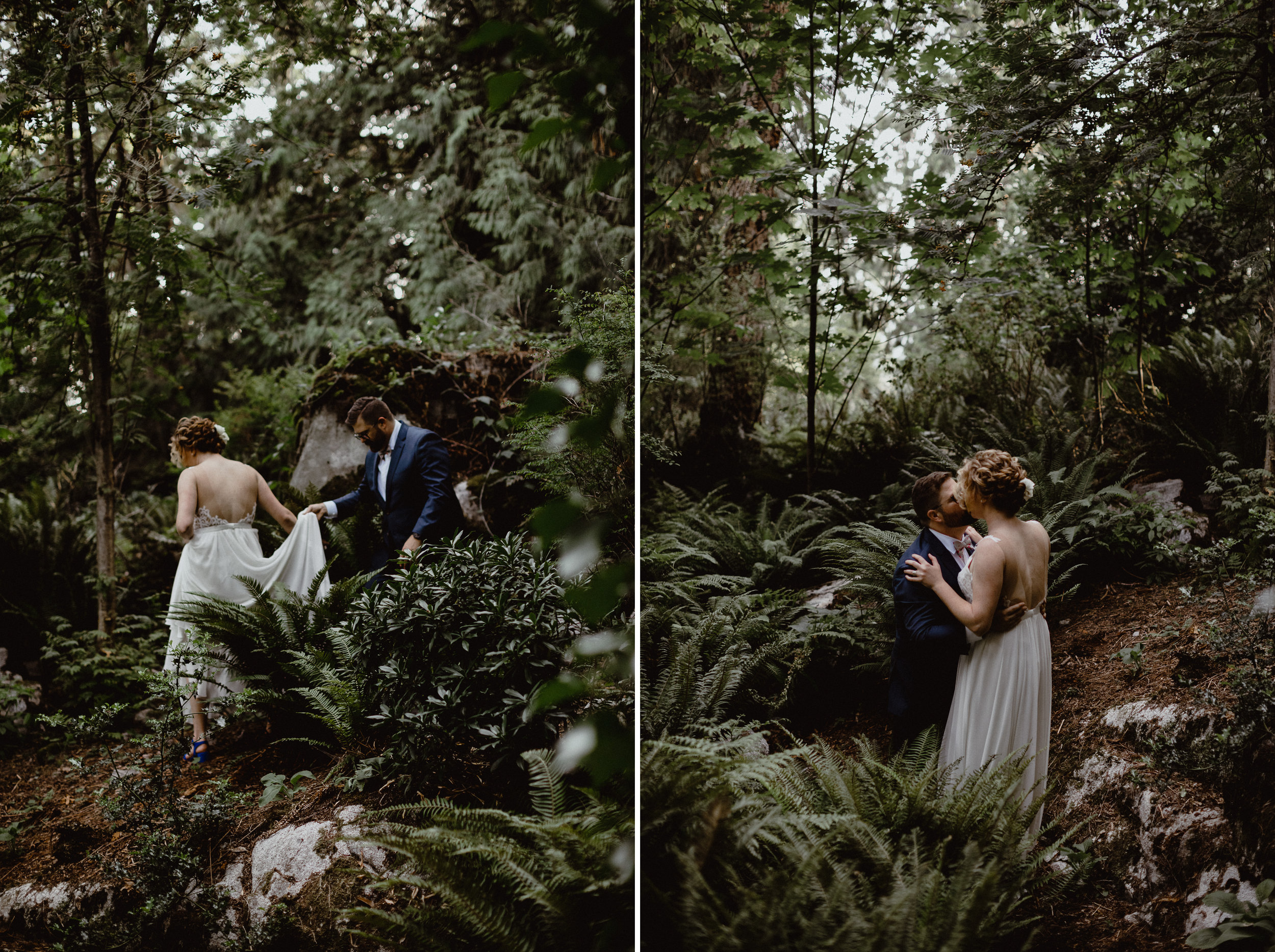 An intimate wedding photo at a forest in West Vancouver
