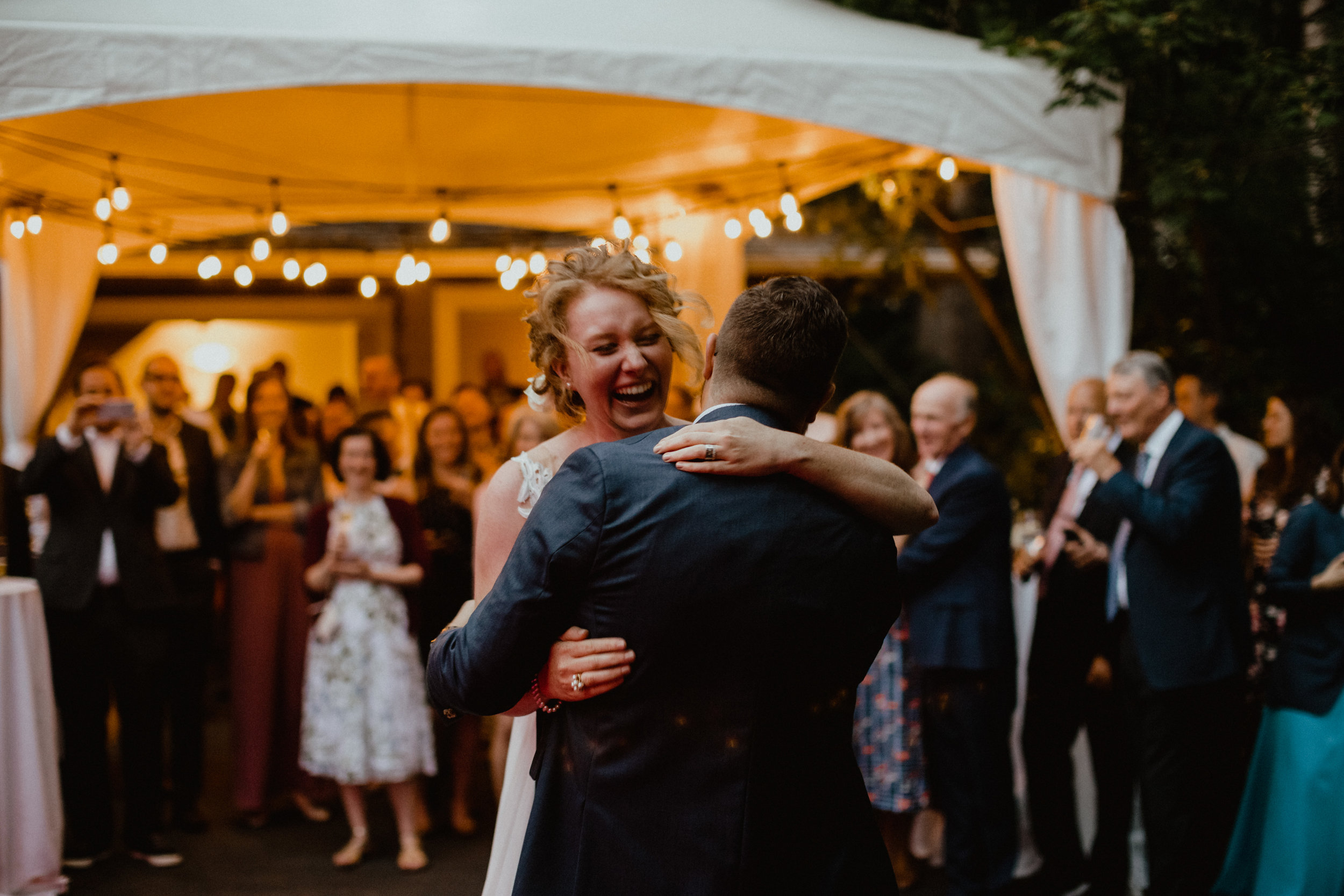 First dance at an intimate backyard wedding in West Vancouver