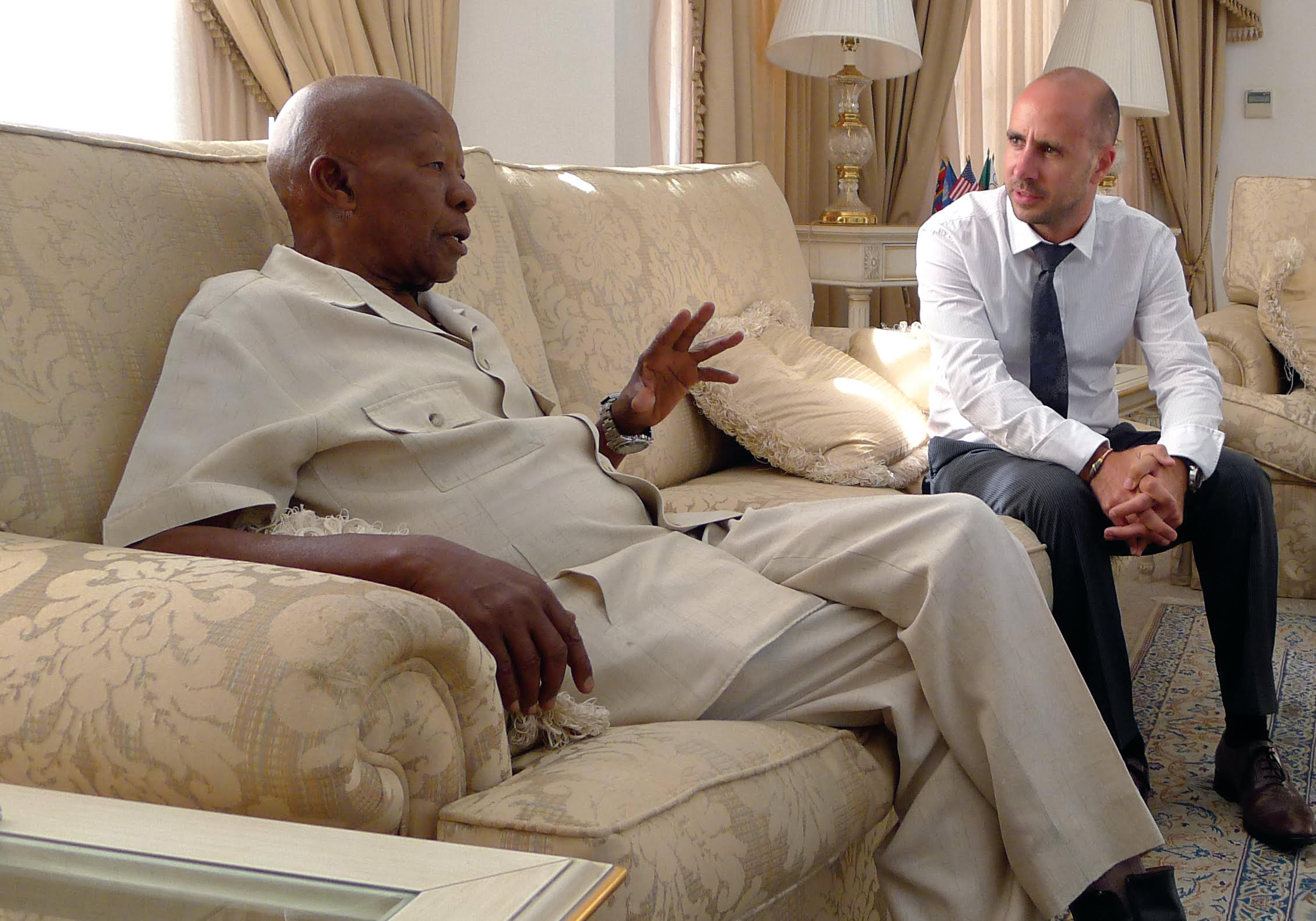 With Former President of Botswana, HE Sir Ketumile Masire GCMG,at his home in Gabarone