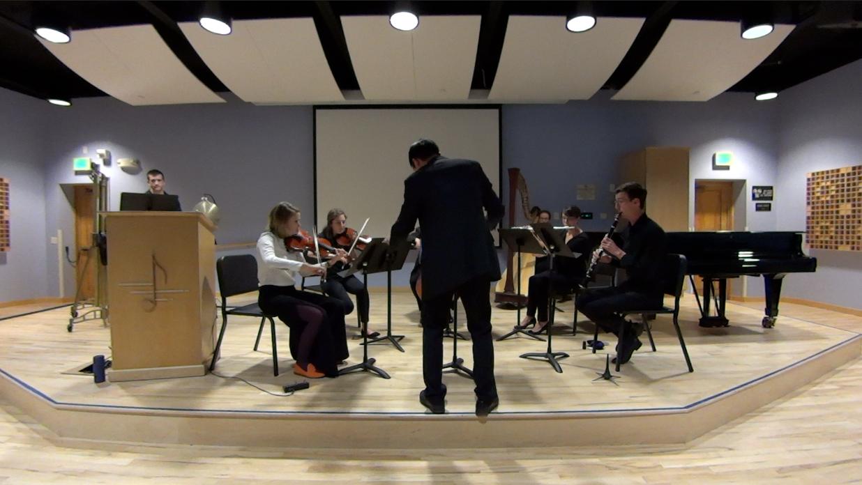 Leslee Smucker--Violin, Ava Pacheco--Viola, Adam Riggs--Cello, Kathryn Harms--Harp, Colleen White--Flute, Jacob Eichorn--Clarinet, Zane Cupec--Percussion, Chris Tran--Concuctor