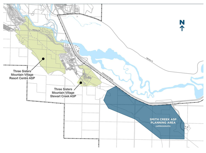 A view from above showing the Resort Centre, Stewart Creek and Smith Creek proposed development areas on the Three Sisters Property. The Trans-Canada Highway runs diagonally across the map, for reference. Map from Smith Creek Terms of Reference Doc. Click image to download.