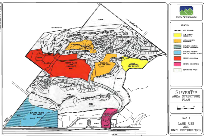 2007 Silvertip ASP: A map of built (black and white) and yet-to-be-built areas of Silvertip property;includes employee housing, resort commercial zone, medium and low density housing, and general commercial. Click to enlarge (a little bit).