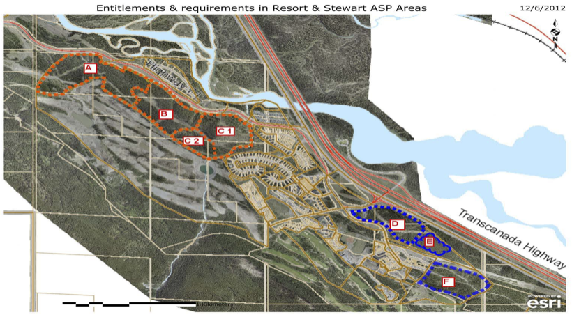 CLICK TO ENLARGE. Map showing areas of Three Sisters lands that have current approvals to build, but have not yet been developed by TSMV (orange is Resort Centre;blue is Stewart Creek).