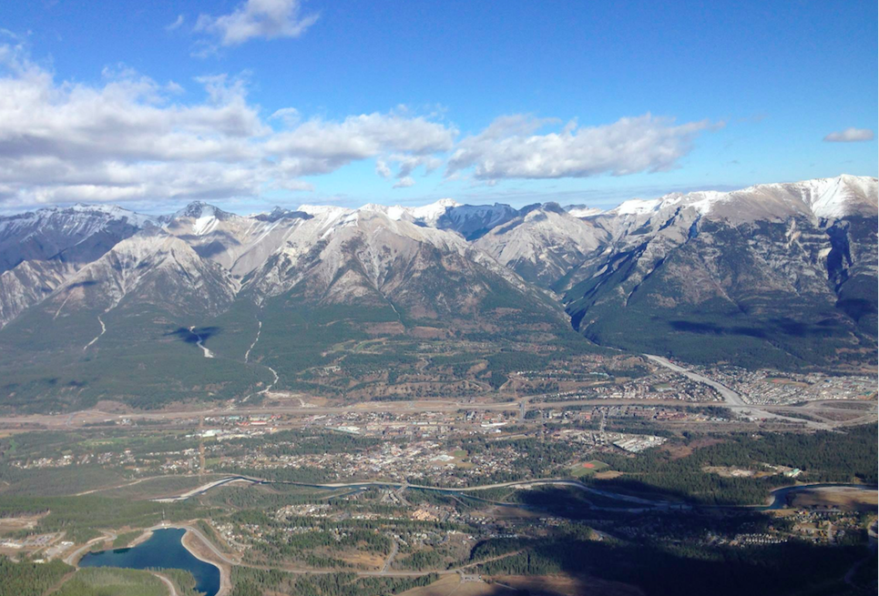 The Town of Canmore from the top of Ha Ling. Photo by Colette Derworiz.