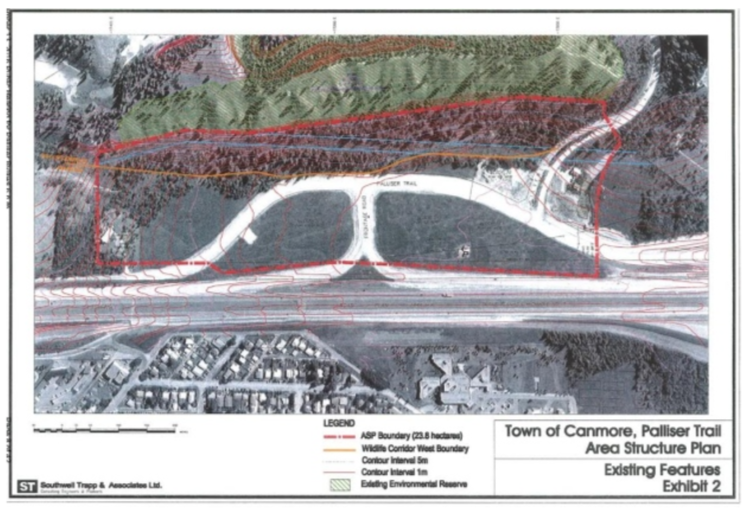 Map courtesy of the Town of Canmore, showing the location for a new rental housing complex on what's known as the Moustache Lands (outlined in red on the map above, north of the Trans-Canada Highway).