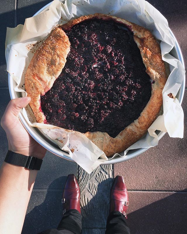 When your realize your oxblood monkstraps match your fresh blackberry galette. #lifeofabaker #summertime