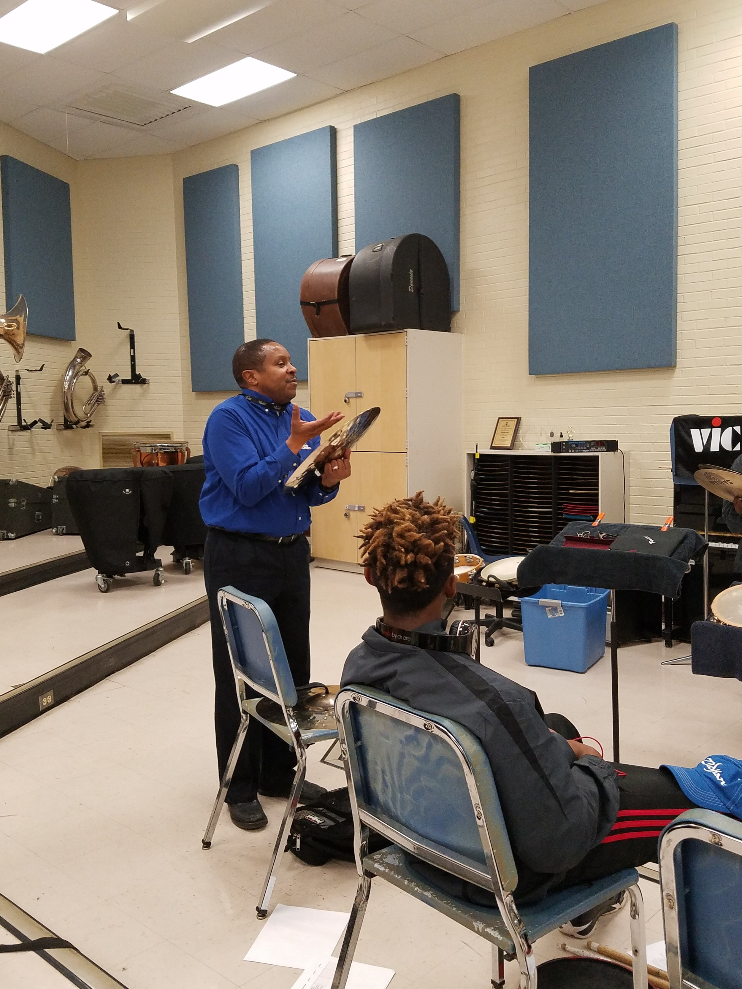 Dr. Don Parker of Fayetteville State University conducting an orchestral percussion clinic