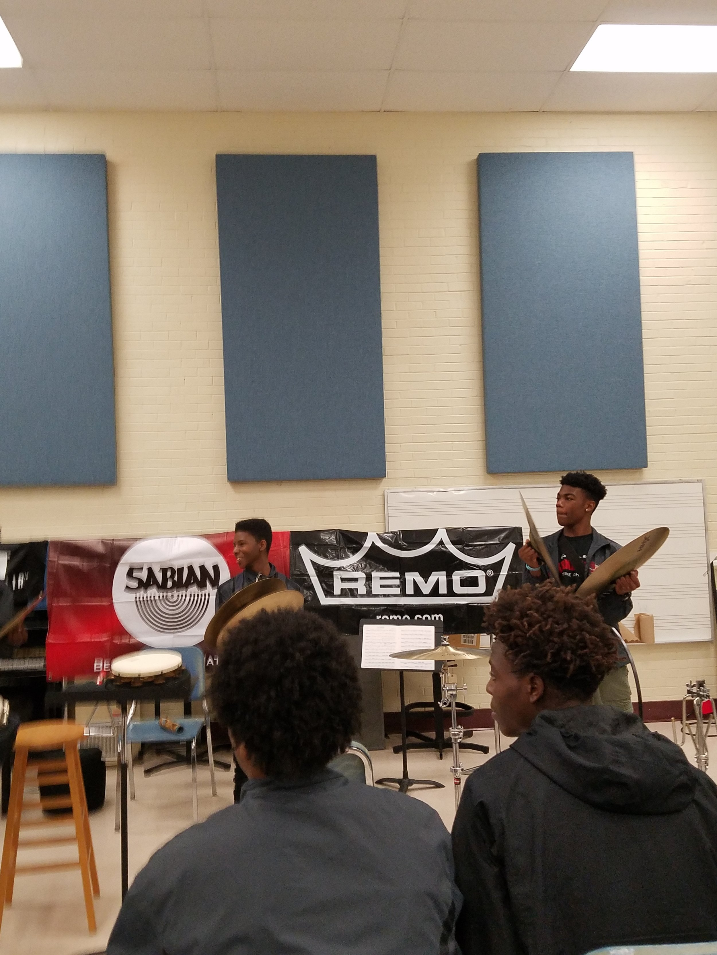 Hoke County High School learning about crash cymbal techniques