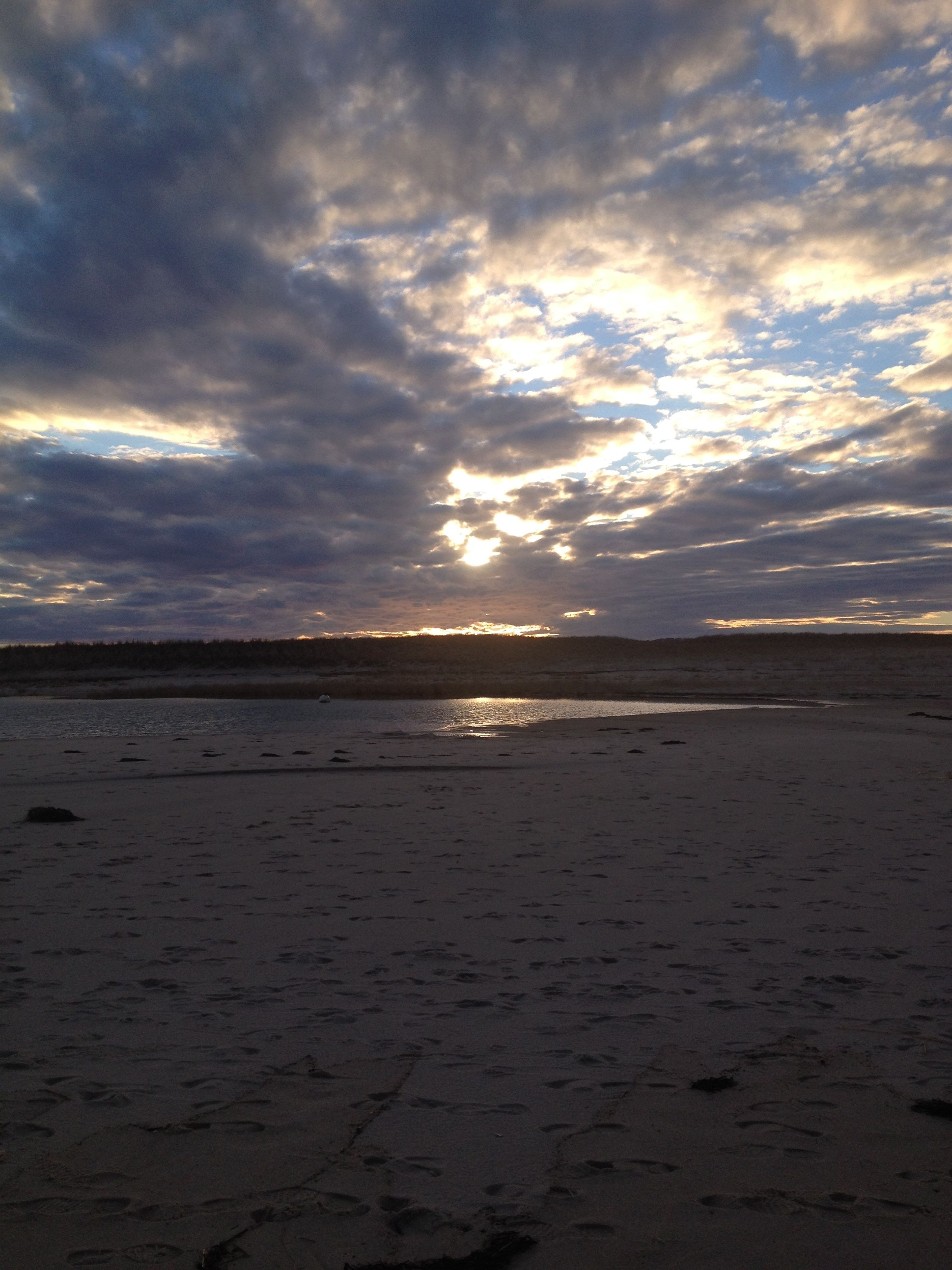 Chatham, MA beach at dusk in the winter, not far from where we harvest seawater.