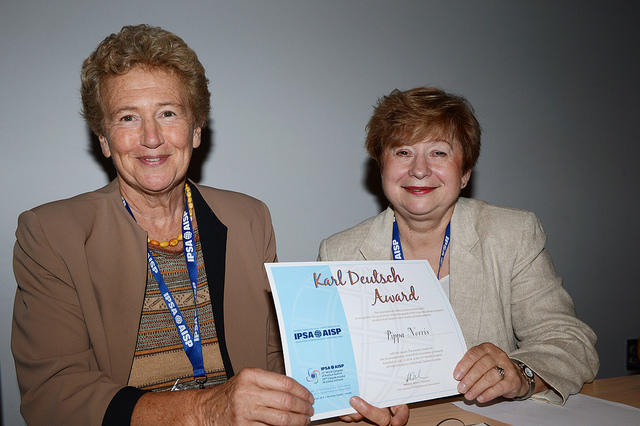 Pippa Norris being presented with the Karl Deutsch Award, IPSA World Congress, Montreal, 2014