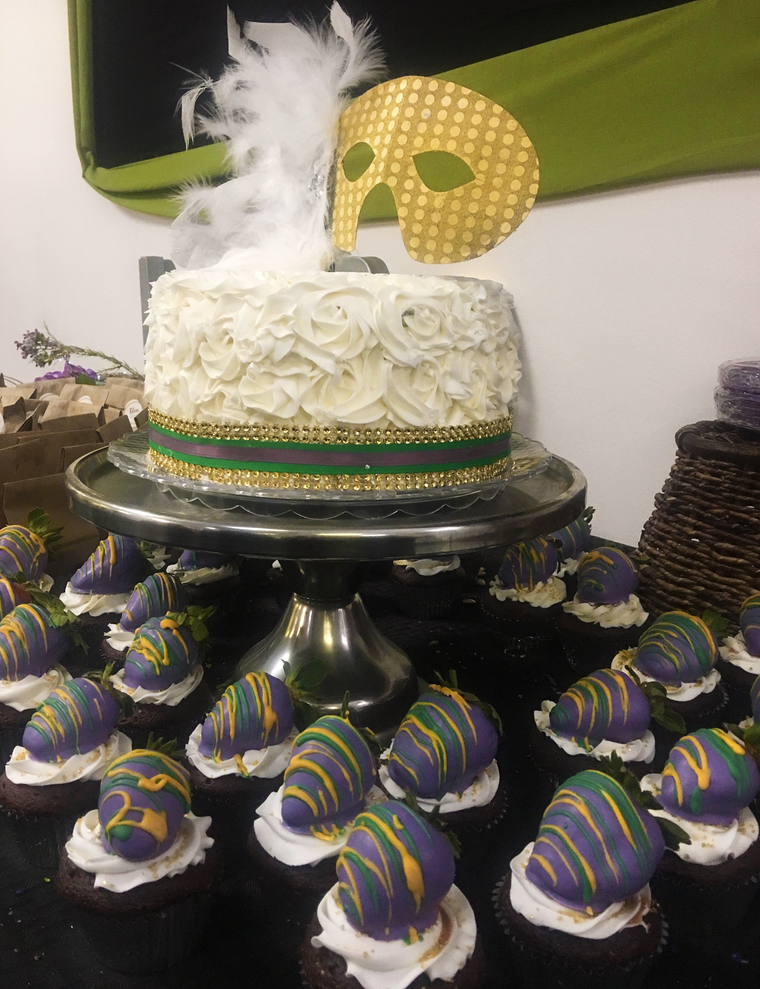 Mardi Gras Themed Cake and Cupcakes by Liz Vazquez (owner & operator of LV Confections & Catering)