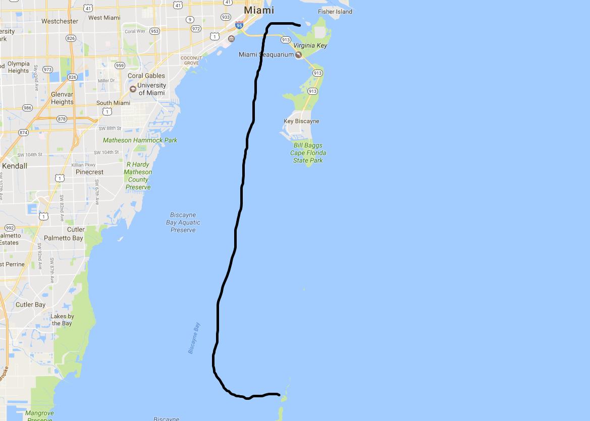 South from Miami to Boca Chita Key