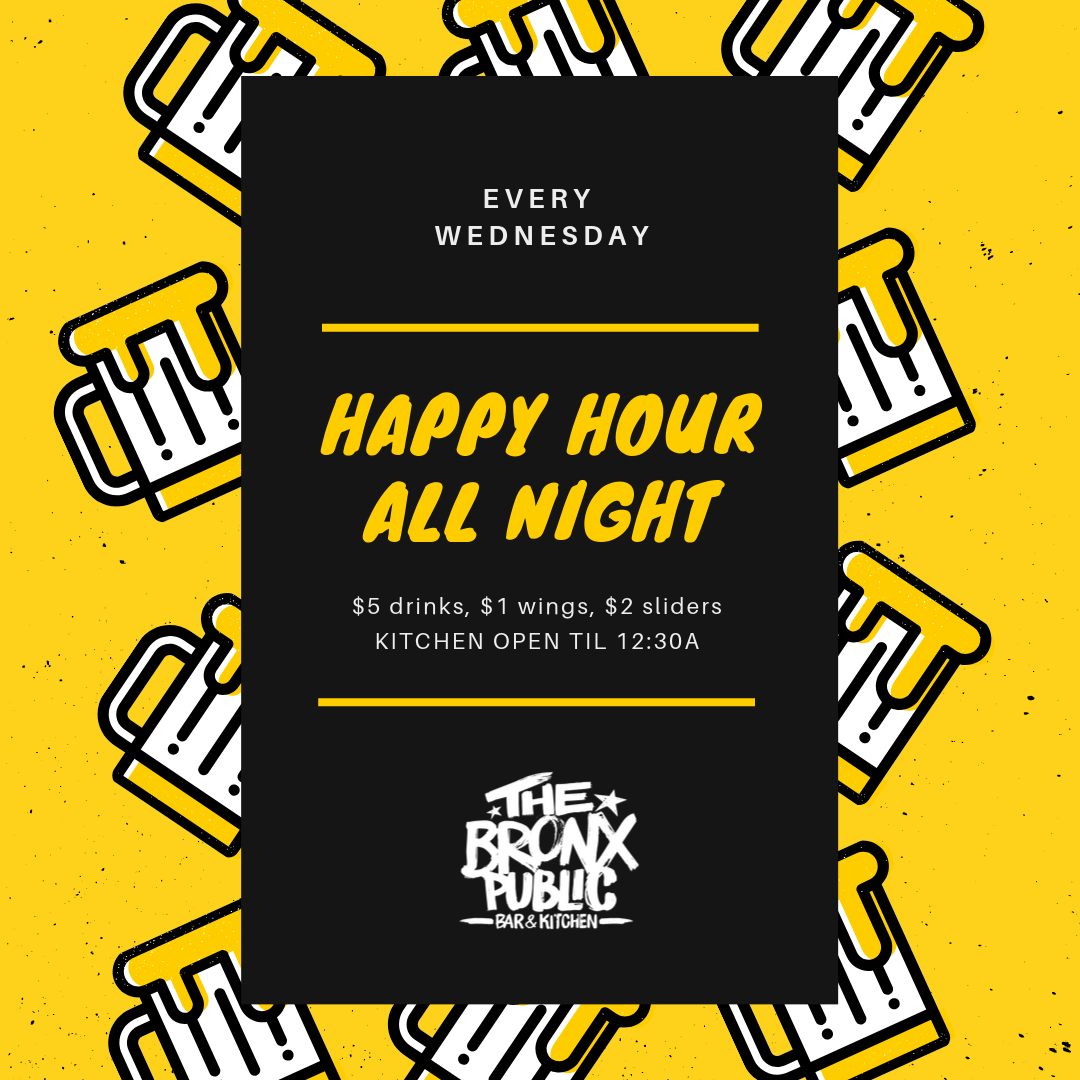 Black and Yellow Mug Pattern Happy Hour Poster.png