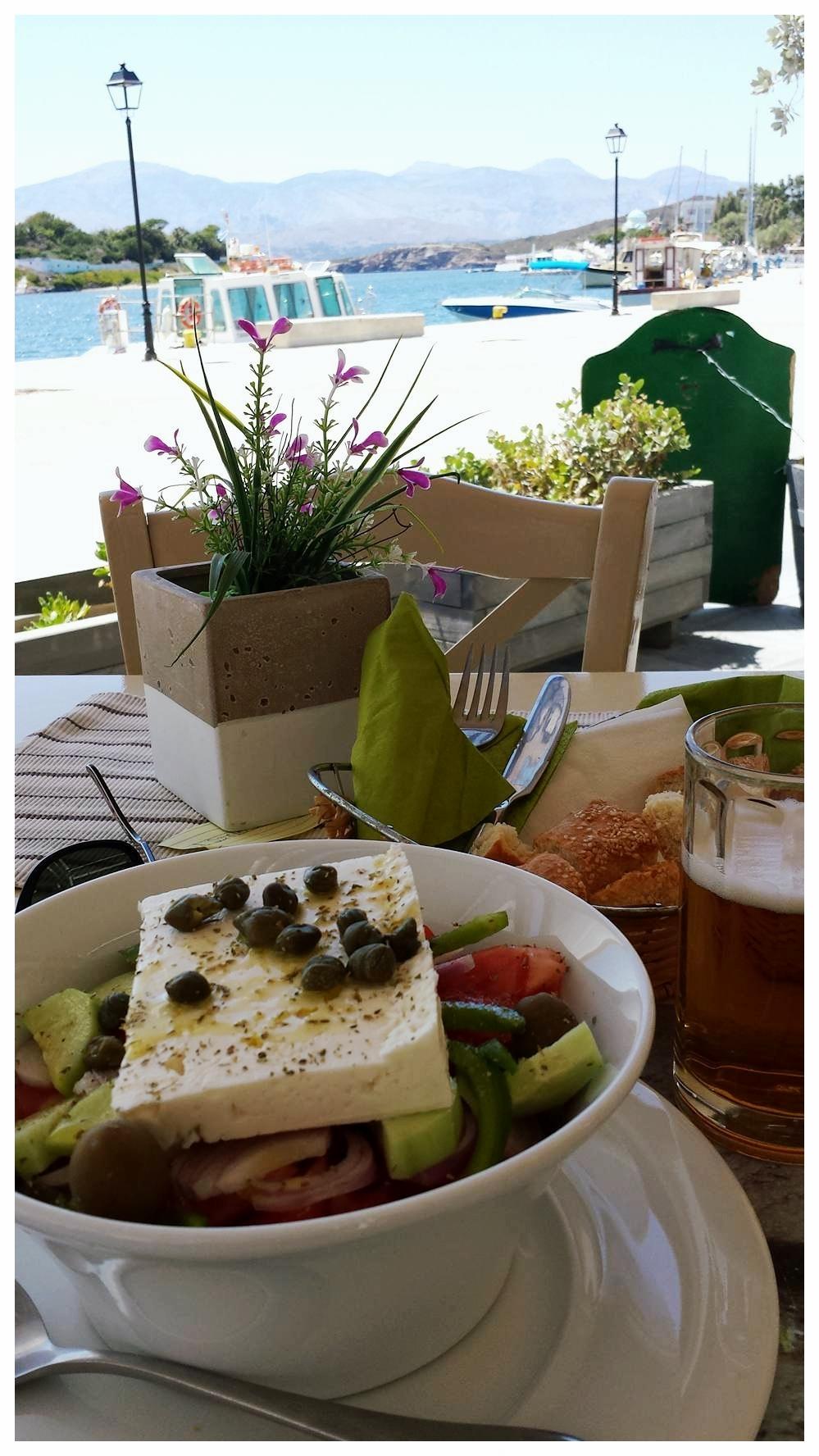 The ubiquitous and delish horiatiki (Greek salad)