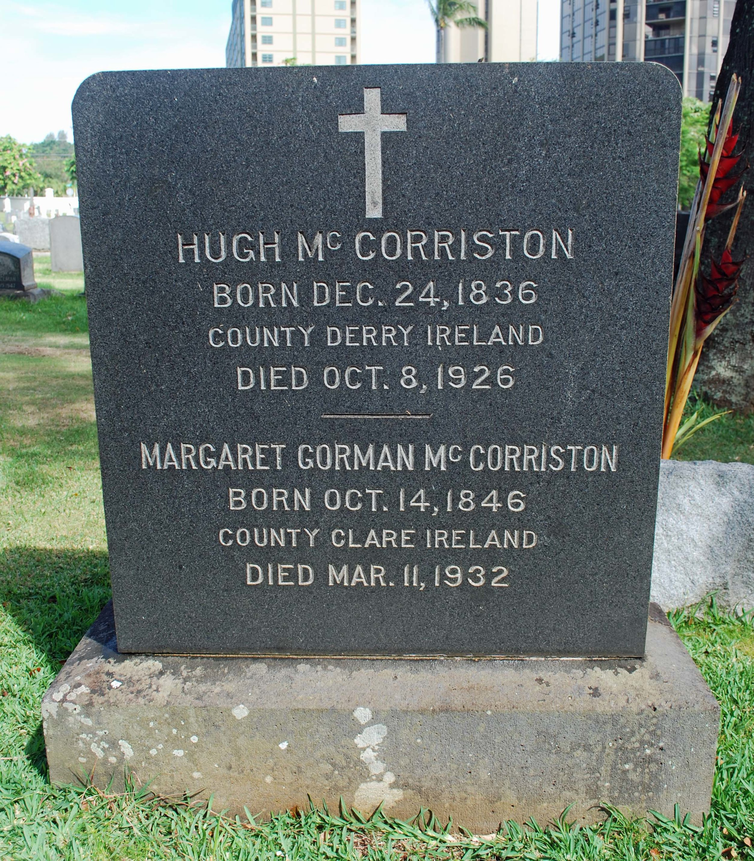 Headstone of Hugh and Margaret McCorriston