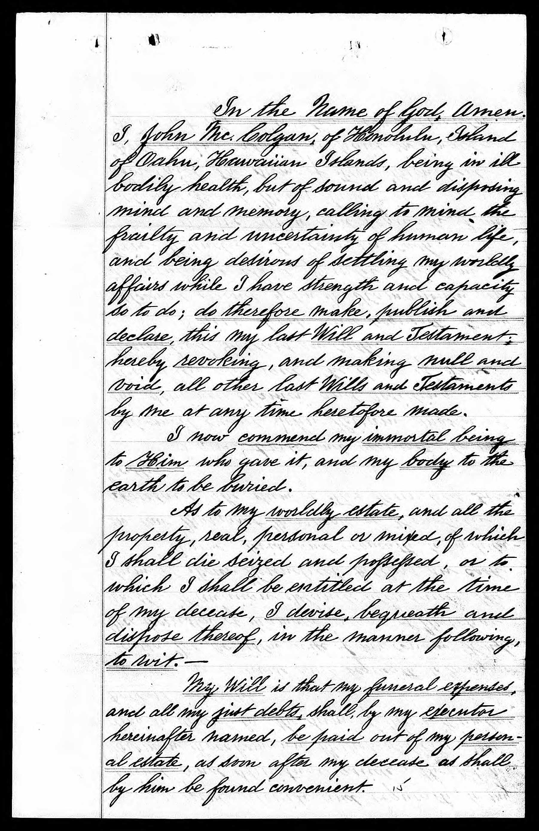 Last Will and Testament of John McColgan, 1890, Page 1