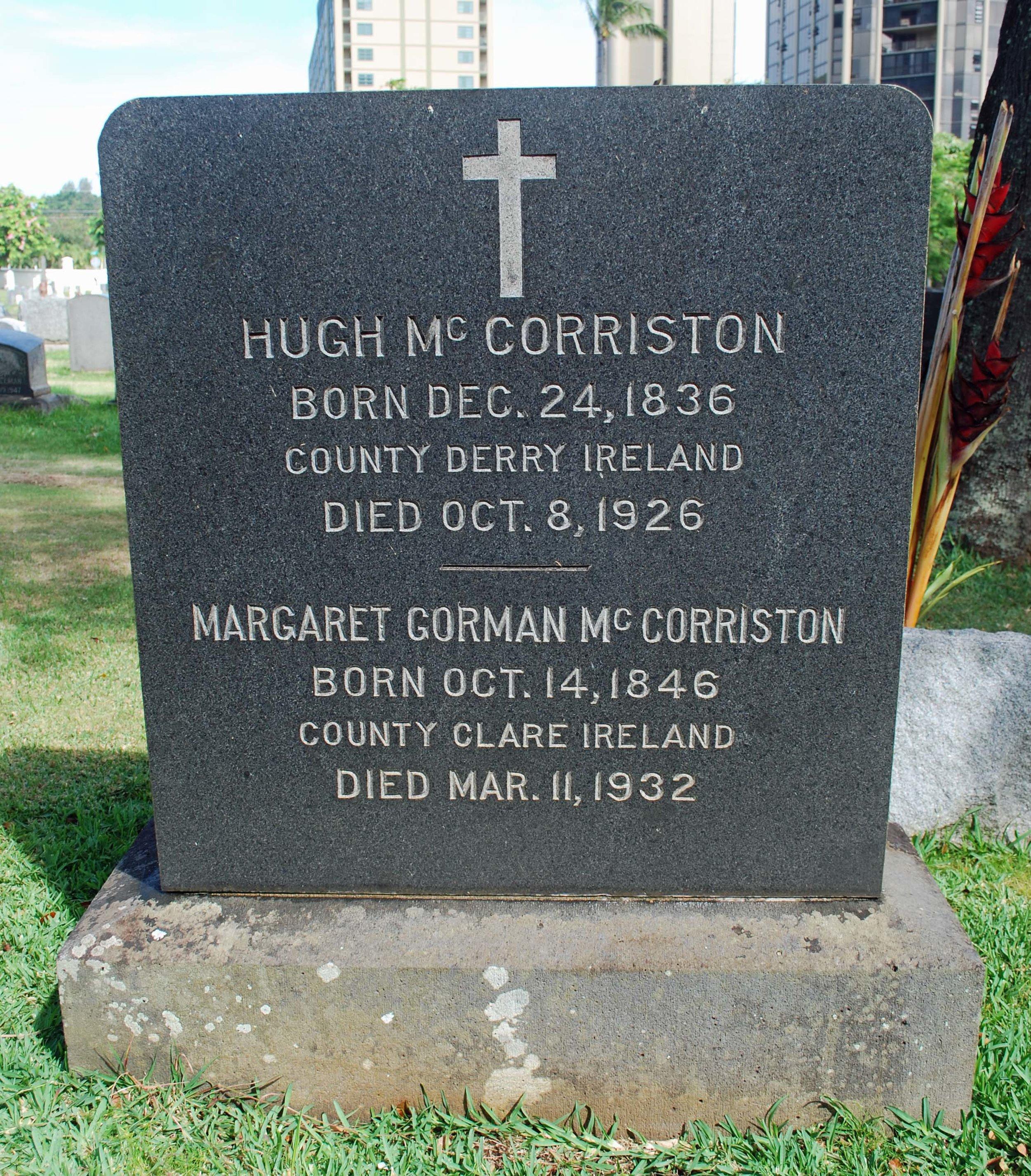 Headstone of Margaret Gorman McCorriston, 1932