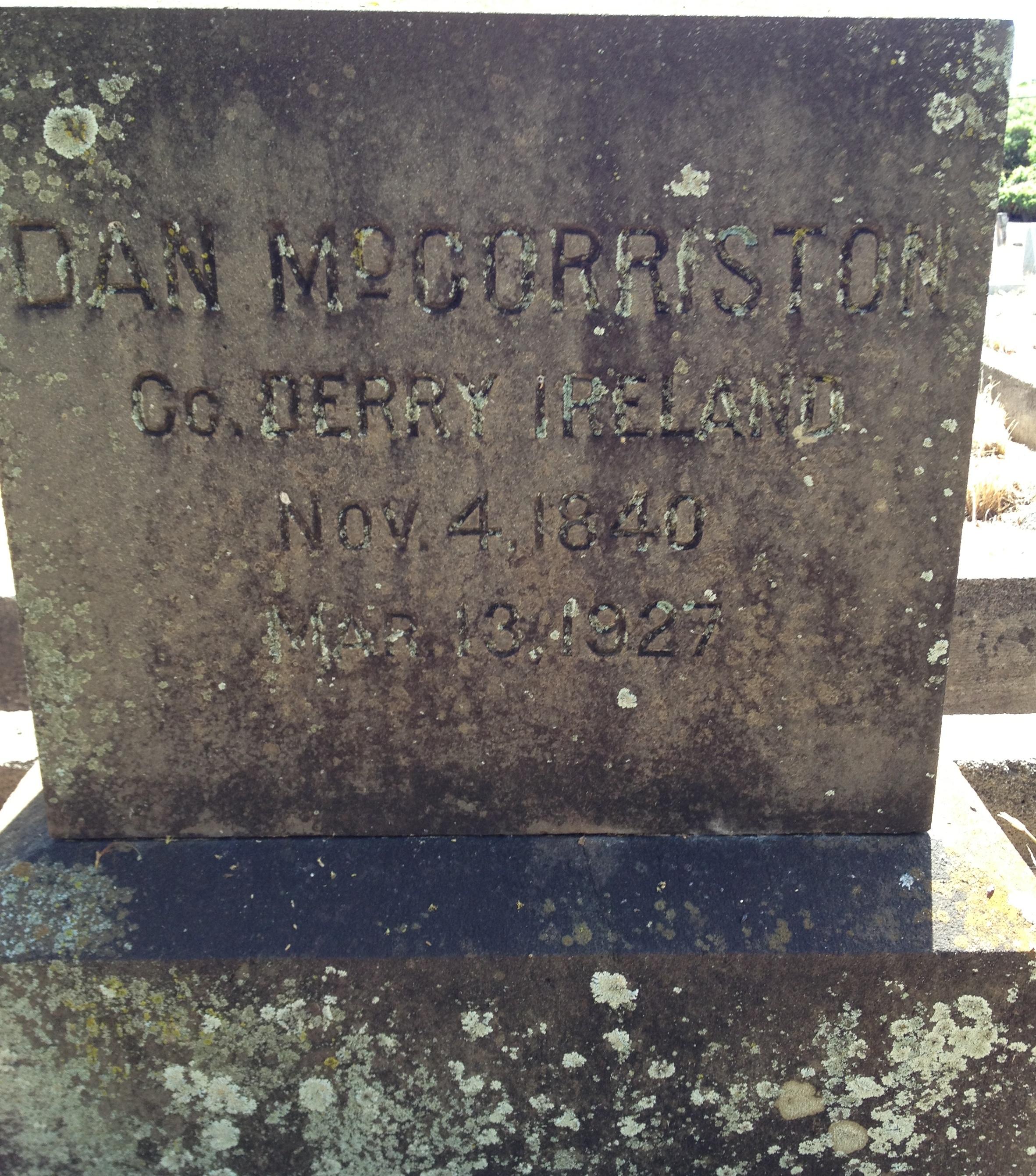 Daniel McCorriston's Headstone