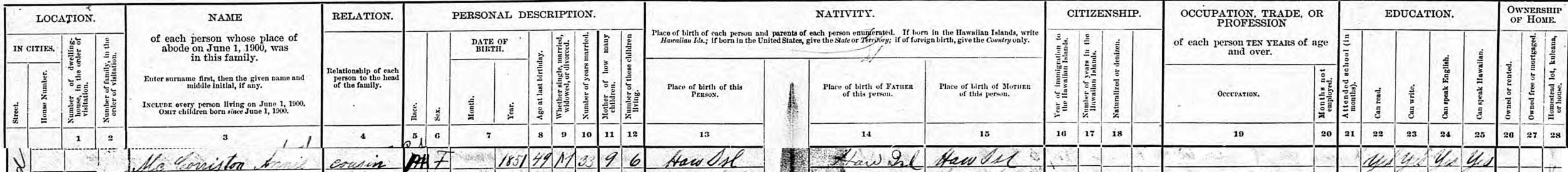 Image 1. Extract of the 1900 U.S. Census citing Annie McCorriston in the household of [Elizabeth] Morehead. June 2, 1900.