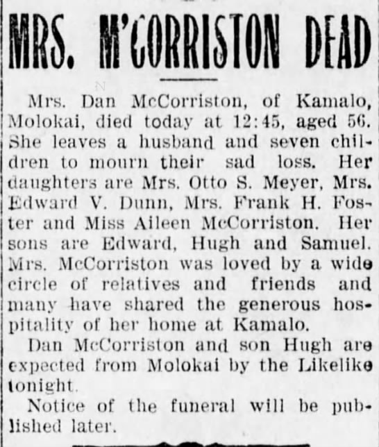 Image 2. Obituary of Annie McCorriston published in the  Evening Bulletin  on May 3, 1907.