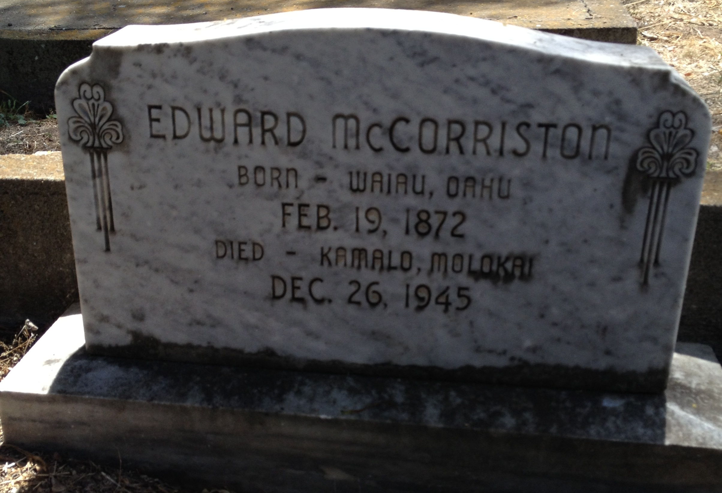 Headstone of Edward McCorriston