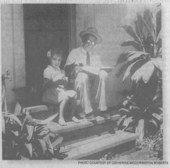 Edward McCorriston with his granddaughter Catherine, 1943