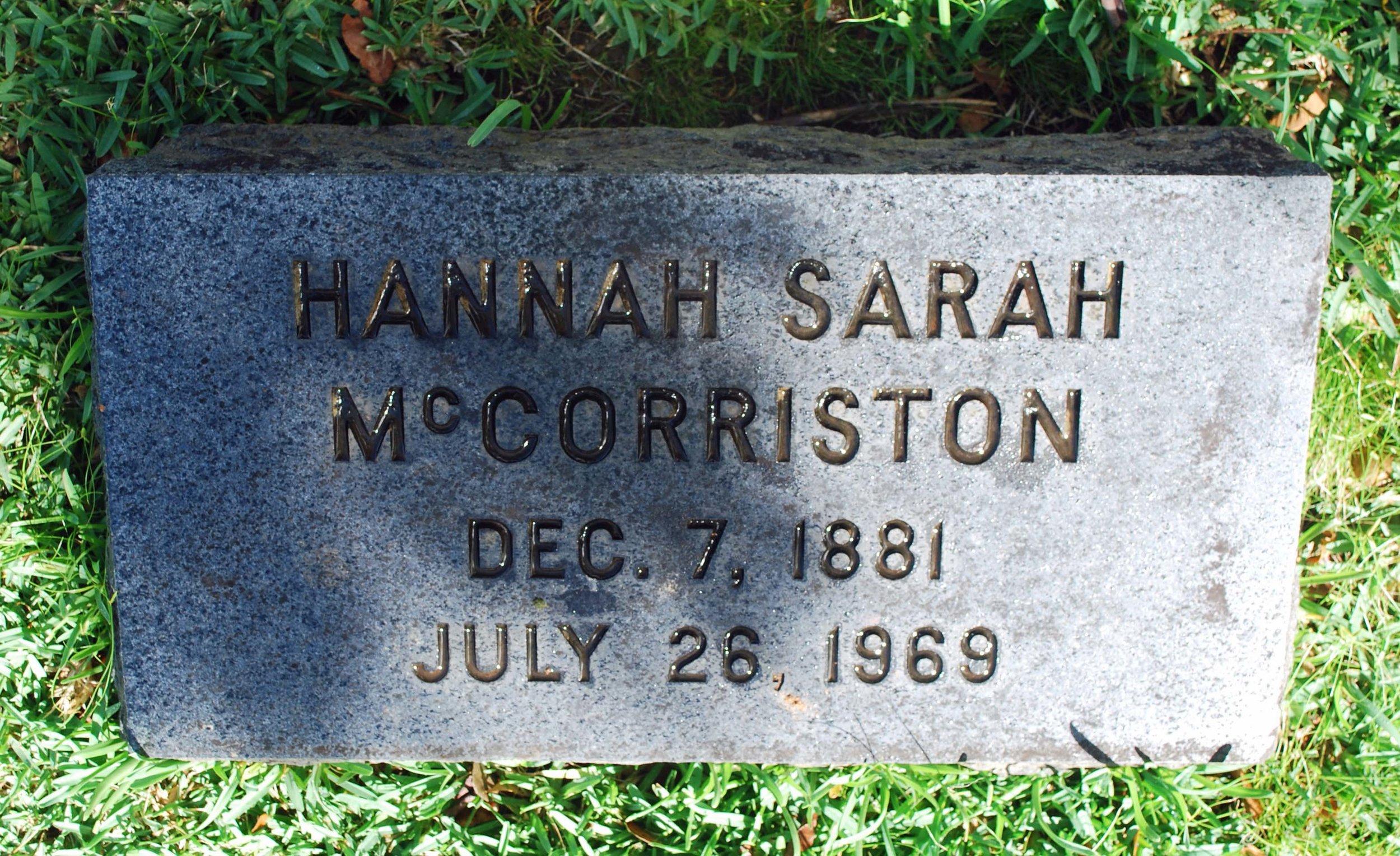 "Headstone of Hannah Sarah ""Dove"" McCorriston"