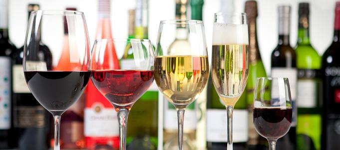many many glasses of wines