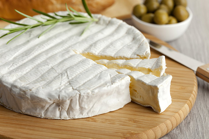 large majestic wheel of brie cheese