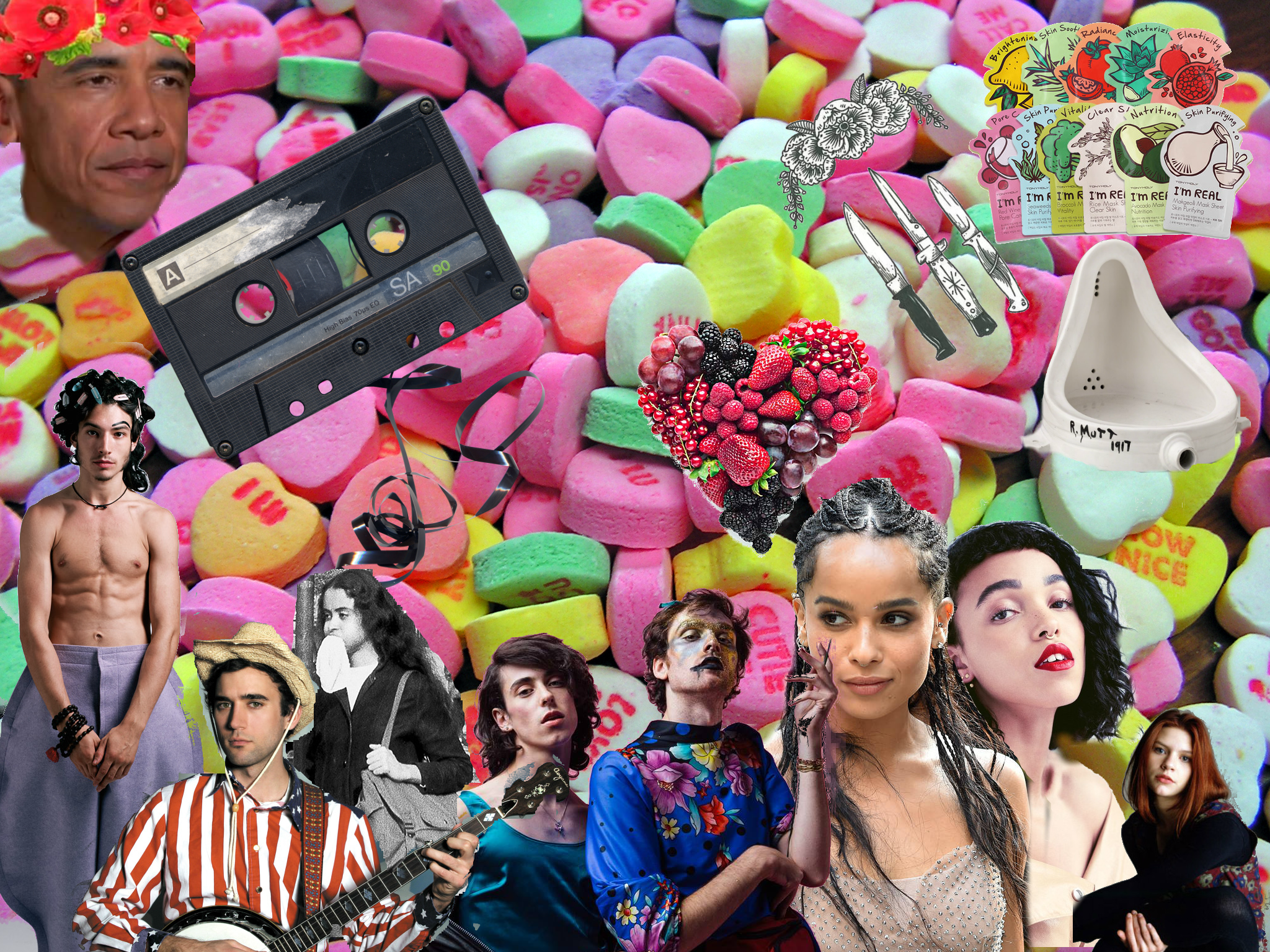 collage of: hard candies, ezra miller, barack obama, pwr bttm, adrian piper, zoe kravitz, fka twigs, claire danes, duchamp's fountain, tape cassette, mixed berries in the shape of a heart, assorted face masks, and tattoo sketch of various blades and flowers.