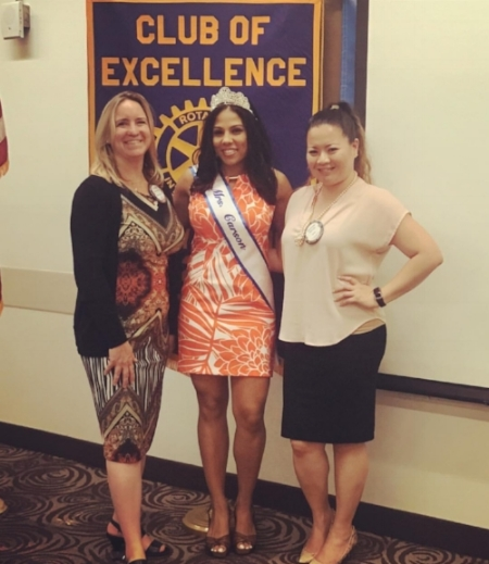 Former Mrs. Carson now Mrs. California with Carson-Gardena-Dominguez Rotary Club members Katherine Nutting and Sweeney Montinola after speaking on her non-profit Women's Ovarian & Medical Education Network and the state of women's reproductive health in America.