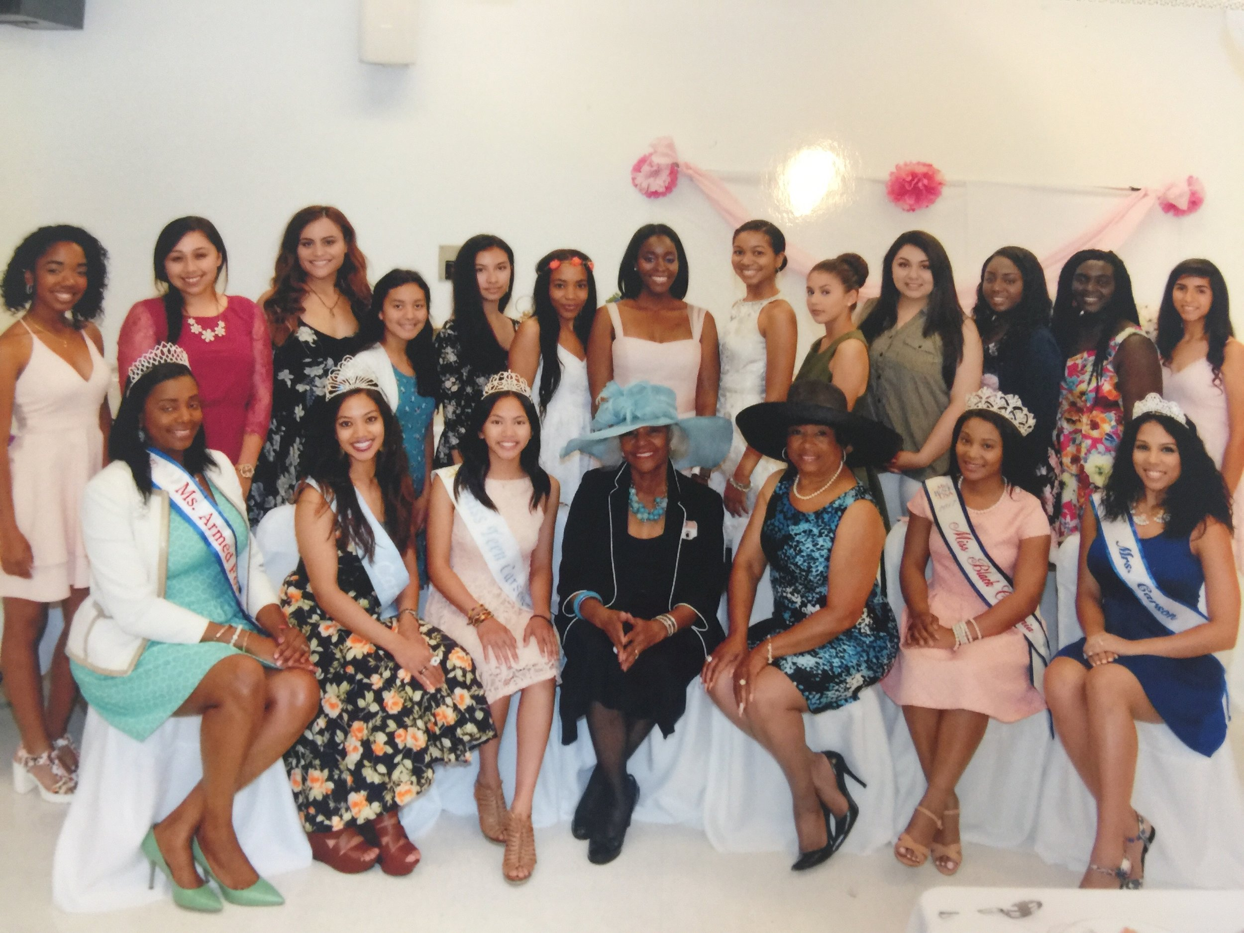 Kristi Eddy (bottom right) works with the Carson Parks and Recreation team along with City Council to host a tea party for young girls in Carson along with the Miss Carson contestants!