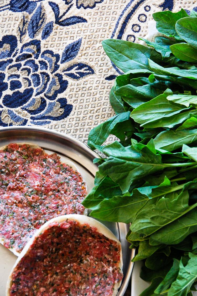 Lebanese meat pie lentils salad pita israeli food lunch easy