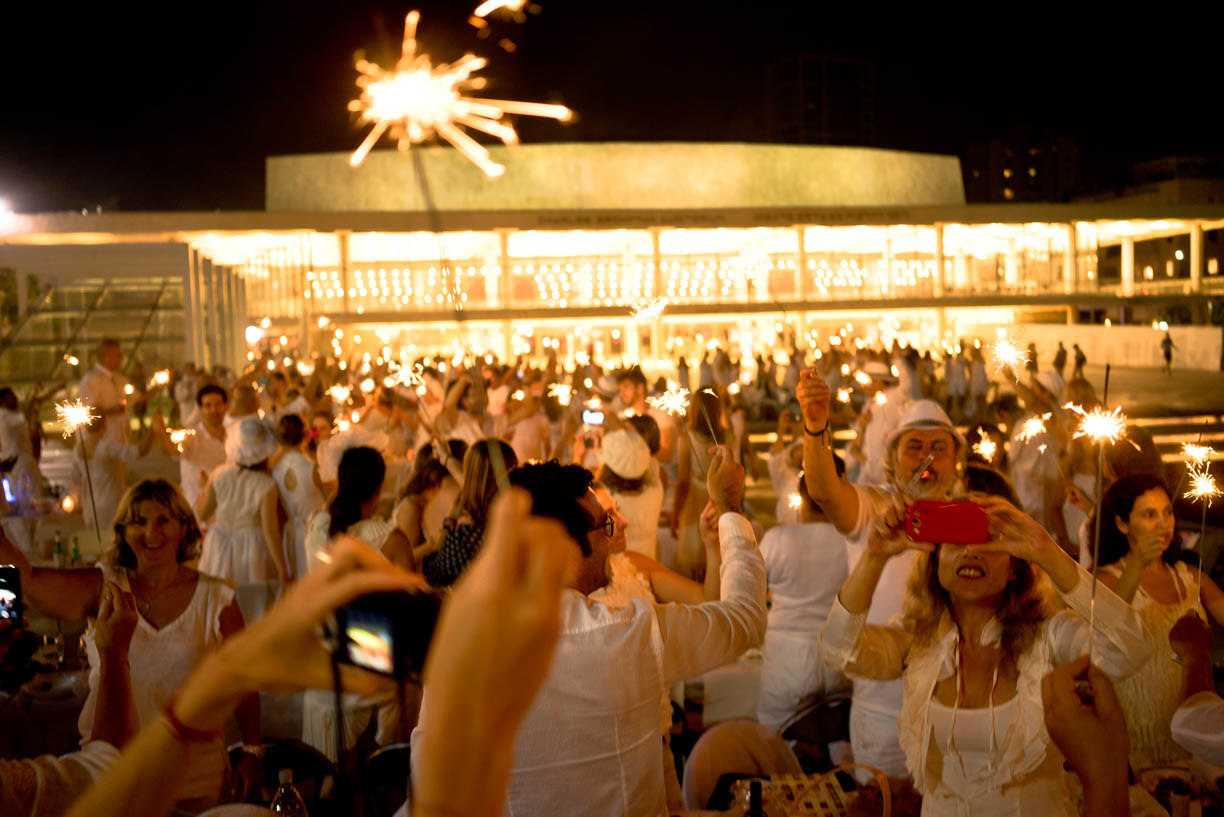 Tel Aviv, people in the city, white celebration, Habima square