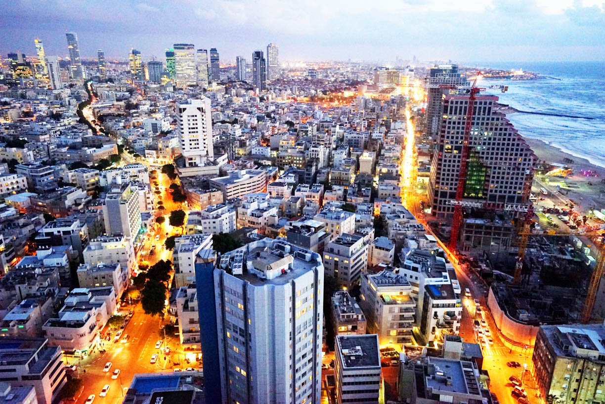 Tel Aviv at night, white city architecture, view from above, city skyline